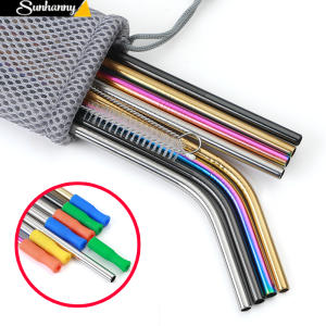 Metal-Straw Brush Cleaner Drinking-Straw Colorful Reusable 304-Stainless-Steel with