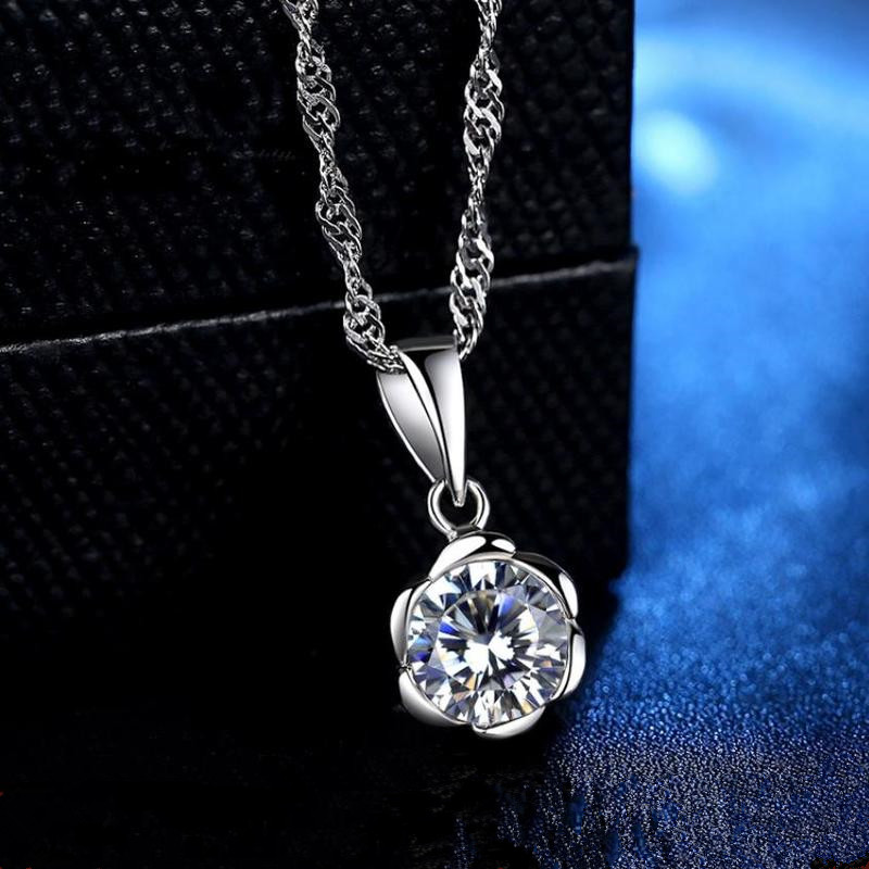 Everoyal Exquisite Crystal Flower Girls Pendant Necklace Accessories Vintage 925 Sterling Silver Jewelry For Women Gift