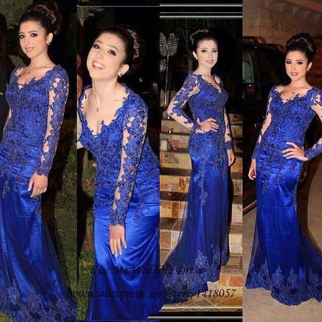 Elegant Women Royal Blue Long Sleeve Lace Prom Dress Abendkleider 2015  Vestidos de Fiesta Mermaid Formal Evening Gowns Gala 506560822695