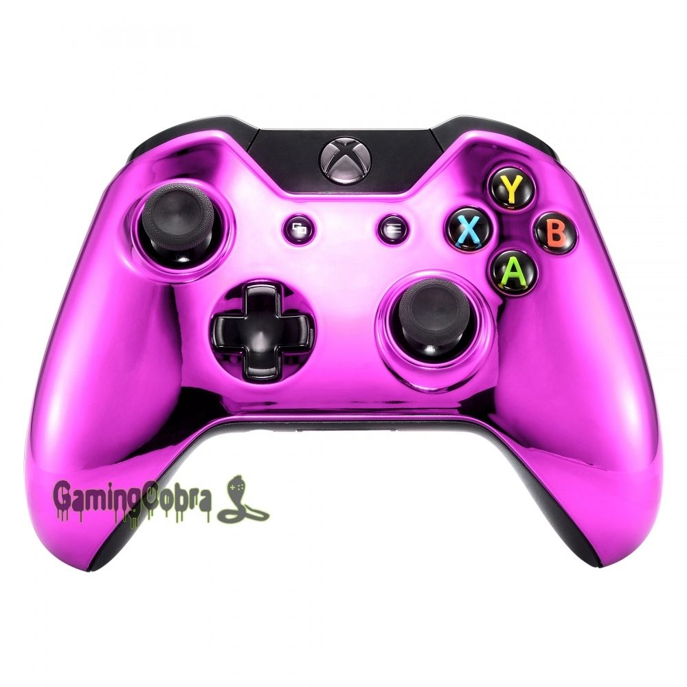 Exclusive Chrome Pink Top Front Housing Shell Case Cover For Xbox One Controller image