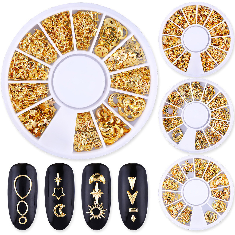 Ocean Nail Art Studs Gold Charms Summer Sea Metal Alloy Rivets Shell Starfish 3D Hollow Star Punk Animal Sparkly Manicure #P