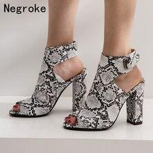 Brand 2019 Women Sandals High Heels Slingback Summer Shoes Sexy Python Pattern Pumps Open Toe Sandalia Feminina цены онлайн