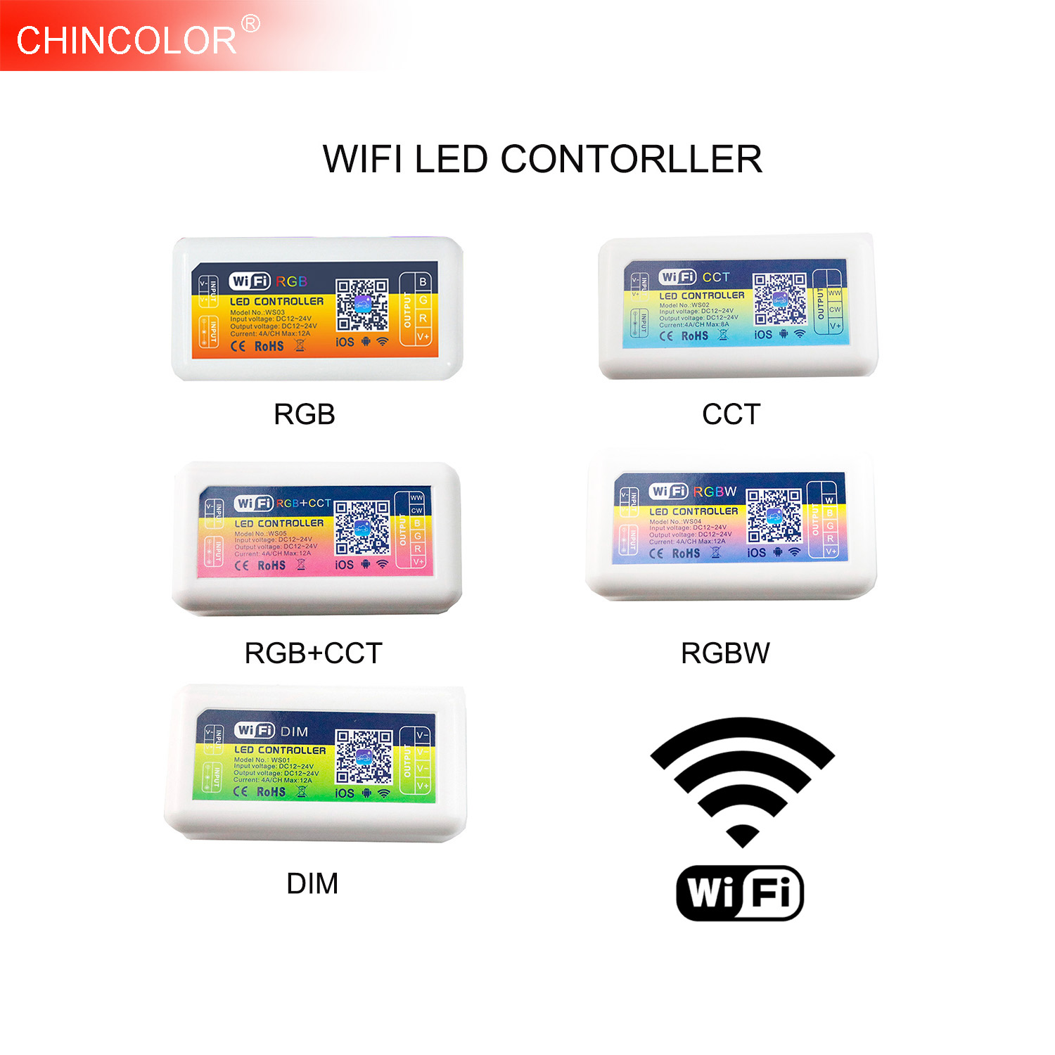 LED RGB RGBW WIFI Controller Android/IOS APP Alexa Control DC12V 24V CCT Dimmer For LED Strip lamps Light Home Lighting New JQ smart wifi controller phone app rgb cct dimmer strip controller by amazon echo alexa google home smart voice control rgb strip