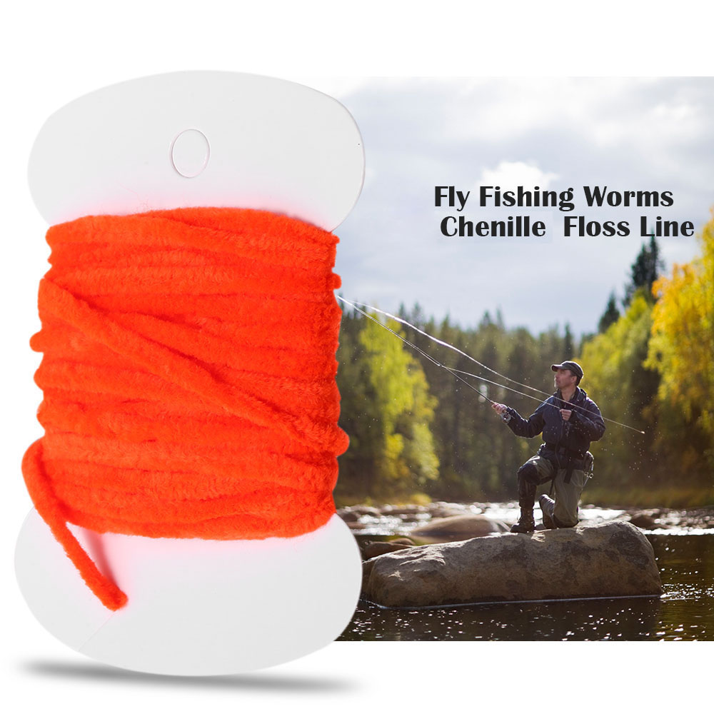 3.0m Fishing Flies Tying Body Material Fly Fishing Worms Chenille Floss Line Thread Woolly Fly Tying Materials 2018