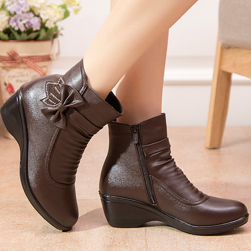 Ankle boots for women leather butterfly-knot wedge snow boots winter shoes short plush fashion zip size 9 botines mujer 2018 tda8357j zip 9