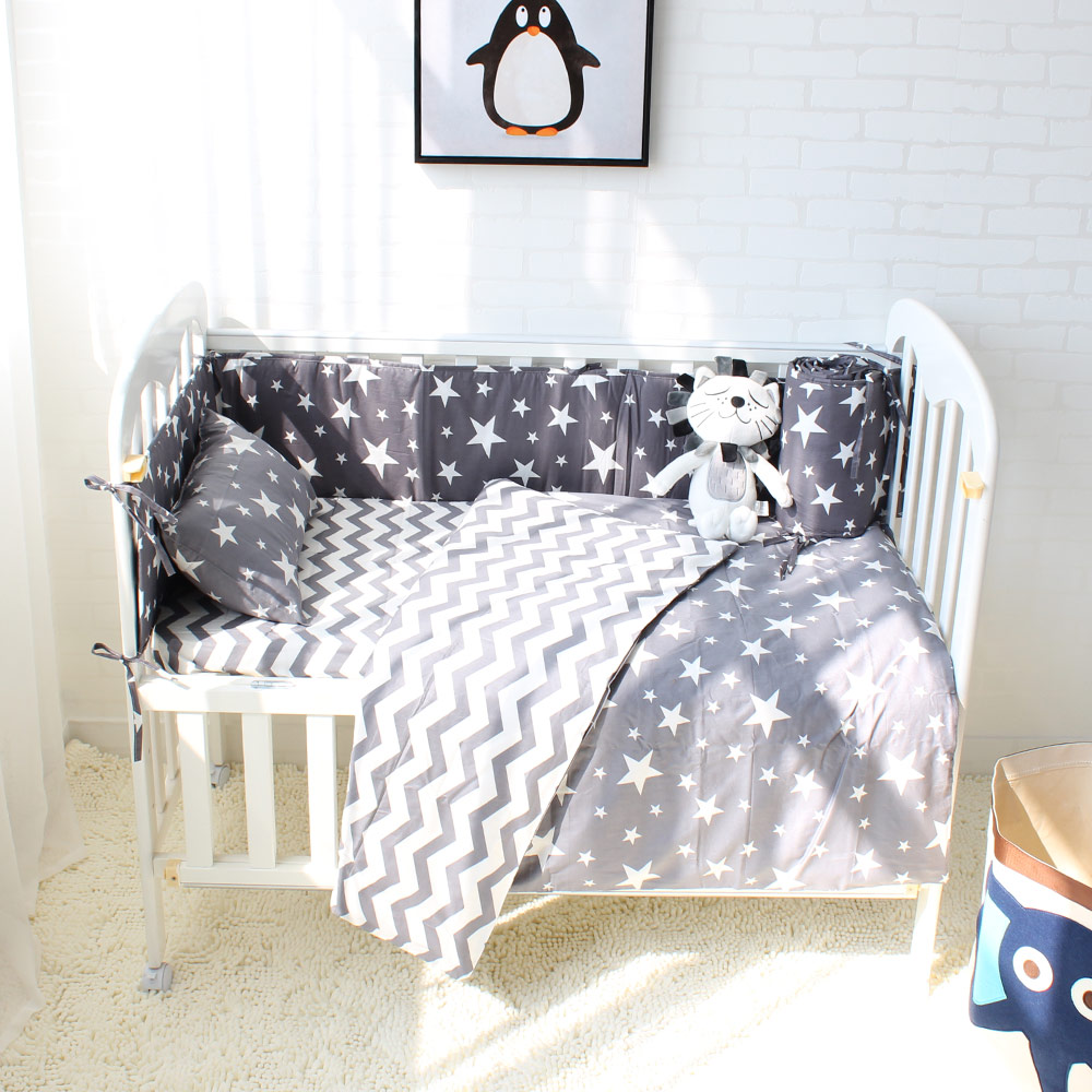 3 to 7Pcs Cotton Baby Bedding Set Star Crown Pattern Baby Bed Linen For Newborns Baby Sheet Bumpers Pillow Quilt With Filling