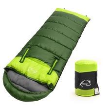 Envelope type outdoor camping sleeping bag Portable Ultralight waterproof travel by walking Cotton sleeping bag With cap