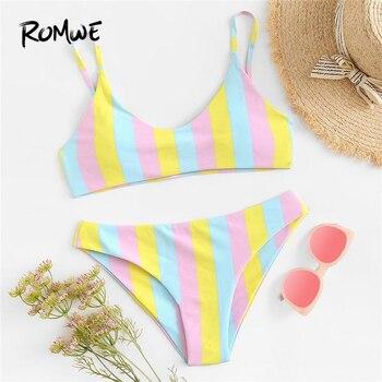 Romwe спортивный многоцветный полосатый комплект бикини для купания женский сексуальный пляжный треугольный купальник с нагрудной накладко...