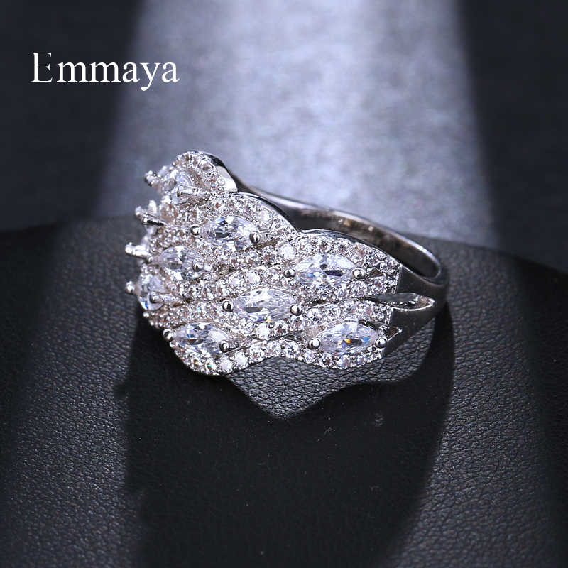 Emmaya бренд Трендовое кольцо с серебрянным покрытием австрийский Кристал из циркония Рождественский подарок для женщин Свадебные ювелирные кольца