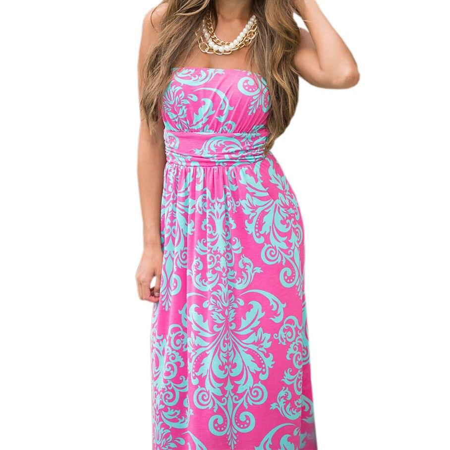 8806a6a1fdac4 Print Bohemian Floral Dress Sexy Strapless Summer Women 2018 Beach Maxi  Long Dresses Robe Femme Party Dress Mujer Sundress GV725
