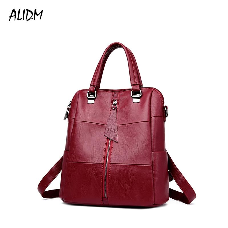 Women Multifunction Backpack Genuine Leather Casual Shoulder Bag Large Capacity Backbag Female Zipper School Bag Travel Bag