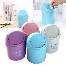 Mini Waste Bin Desktop Garbage Basket Table Home Trash Can Roll Swing With Lid(China)