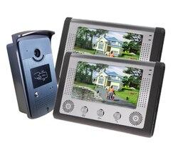 SmartYIBA Домашняя безопасность 7 дюймовый монитор проводной видео телефон двери дверной звонок Домофон Система RFID брелок 2 монитор 1 камера ком...
