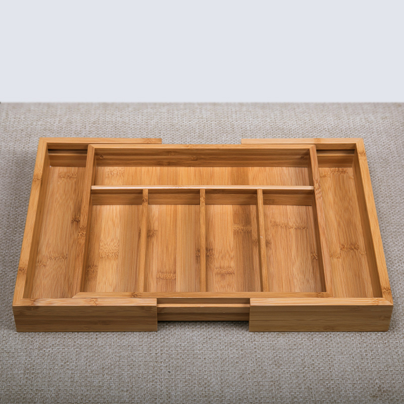 Bamboo Adjustable Storage Box for Sundries Eco Wood Office Organizer Multi-Use Home Decor Drawer Kitchen Utensil Holders