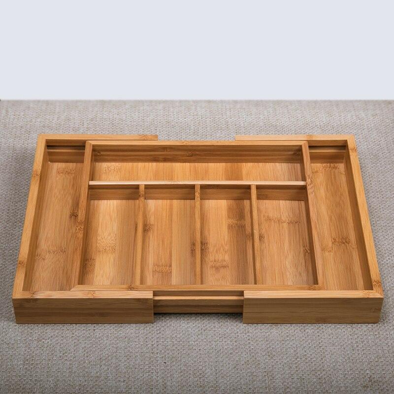 Bambou boîte de rangement réglable pour articles divers Eco bois organisateur de bureau multi-usage décor à la maison tiroir cuisine porte-ustensiles
