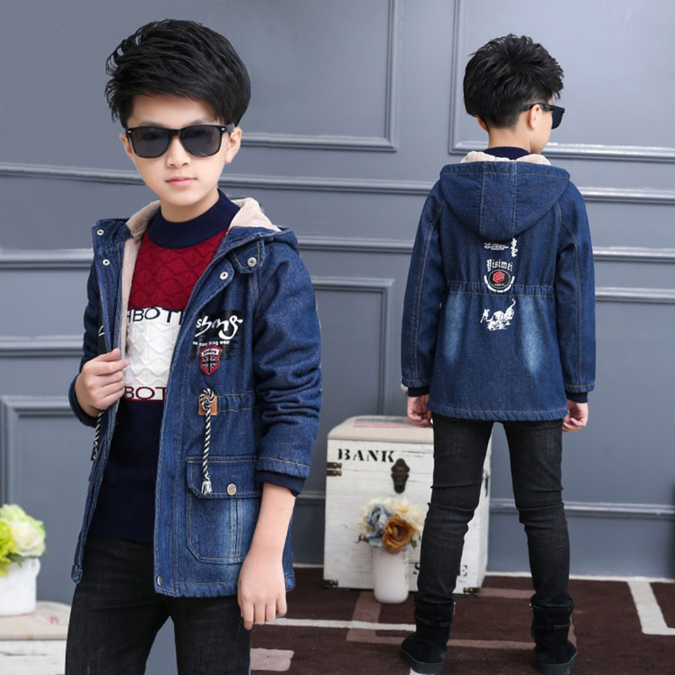 2018 New Cartoon Pattern Baby Boys Jacket Kids Autumn Winter Warm Cotton Denim Hoodies Coat Children Casual Outerwear Clothing 2018 new cartoon boys clothing sets 2pcs denim jacket