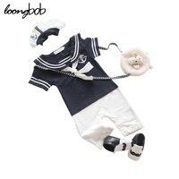 Newborn Navy Style Baby Romper Suit Kid Baby Boy Clothing Set Romper Hat Body Short Sleeve