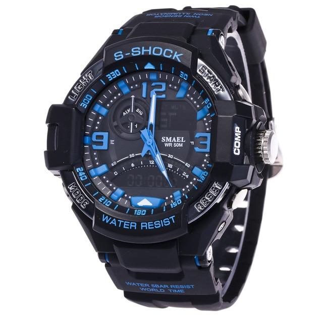 Fashion Big Brand Style Dual Time Black Sport Digital LED Wristwatches Wrist Watch for Men Boy 2 Years Warrenty