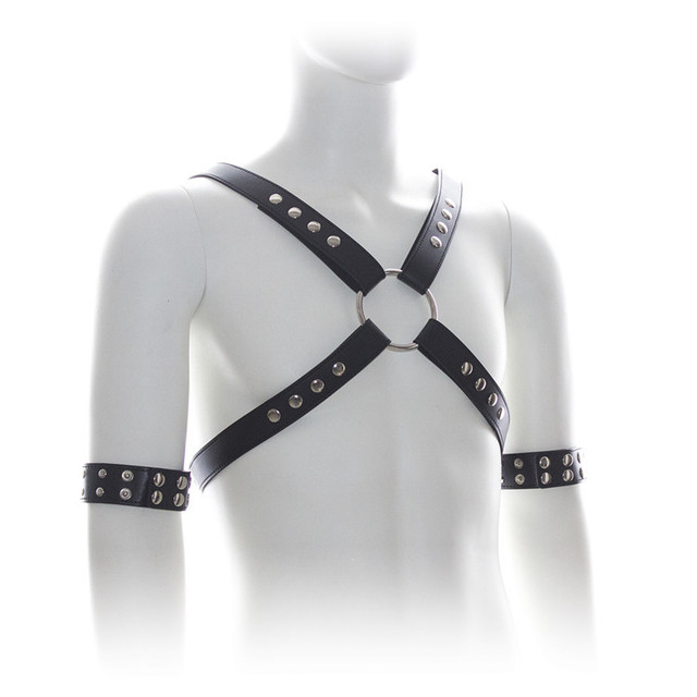 Male Bondage Punk Leather Adjustable Straps Chest Harness with Arm Rings  Set Men s Metal Studs Fetish Top Erotic Costume