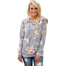S-XL women autumn winter floral print hoodies long sleeve coat hoodie blouse tops tshirt