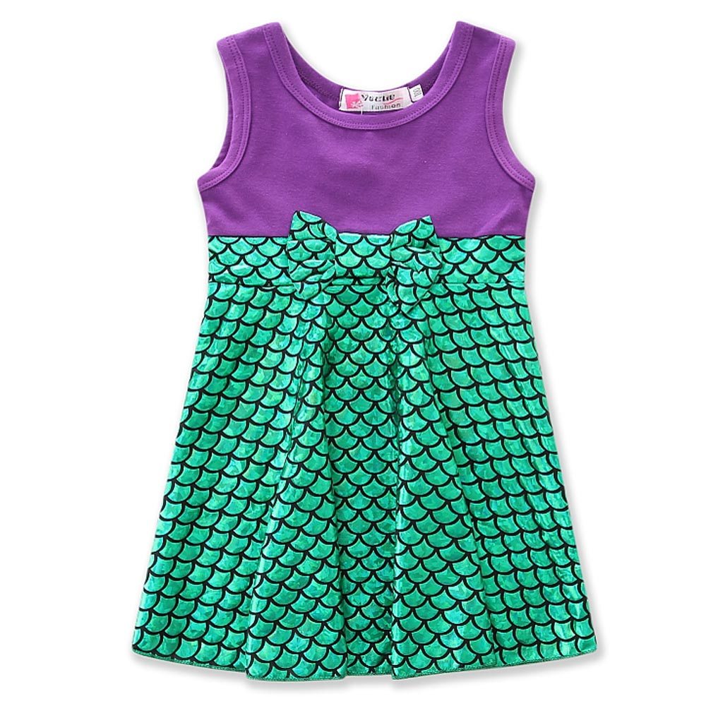 kids Cosplay Girls Sleeveless Princess Clothes Halloween Party Costume Children Clothing Sets Girls green Mermaid Dress size1-7Y купить