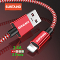 Suntaiho 2.4A Cable USB para Cable de cargador de iPhone Xs Max xr x 7 7 6 plus 6 s para Cable de iluminación cable cargador de teléfono móvil de carga rápida