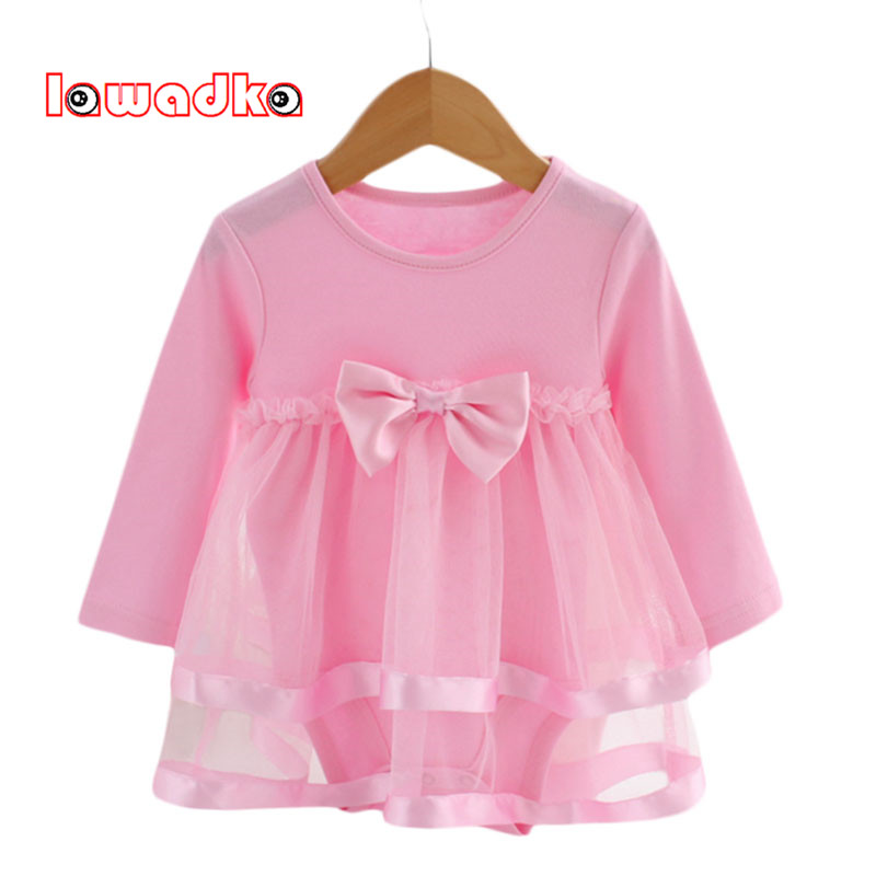 Lawadka Cotton Bow New Born Baby Dress with Baby Rompers Soft Baby Girls Infant Clothes Jumpsuit