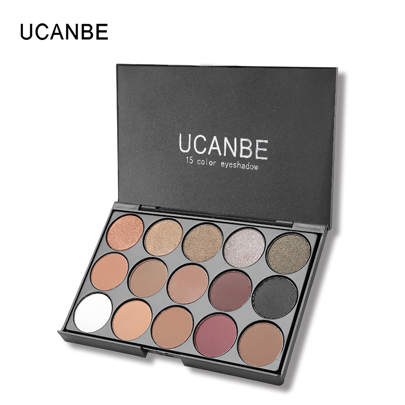 UCANBE Brand Eye Makeup Set 15 Earth Color Matte Pigment Eyeshadow Palette Cosmetic Shimmer Eye Shadow Make Up Kit professional cosmetic makeup 15 color eye shadow palette black