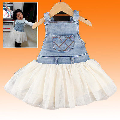 006ad22339a Kids Baby Girls Clothes Summer Denim Tulle Dress Overalls Age 6M 4Y child s  clothing
