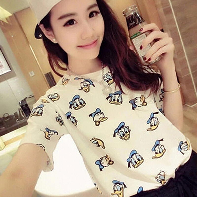 Lindo estampado de patos mujeres Camiseta superior cuello redondo manga corta mujeres camisetas y camisetas algodón cómodo Camiseta mujer Camiseta de dibujos animados