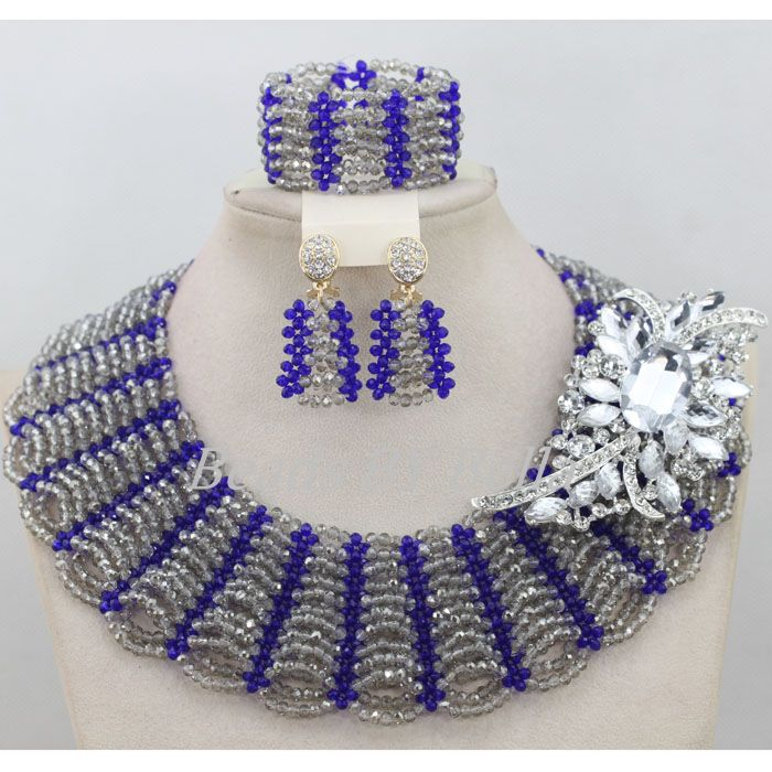 все цены на Hot Sale Nigerian Jewelry Wedding Sets Gray Grey Crystal Choker Necklace Fashion Women African Jewelry Set Free Shipping ABF624