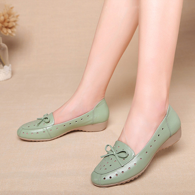 Women Flats Summer Shoes Woman square toe genuine leather flat Sneakers Ladies Brogues bow Casual Shoes Oxfords Shoes For Women