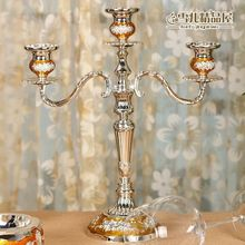 Candlestick high-end European gold-plated three head holders to Candles Hotel KTV classic style Home Furnishing ornaments