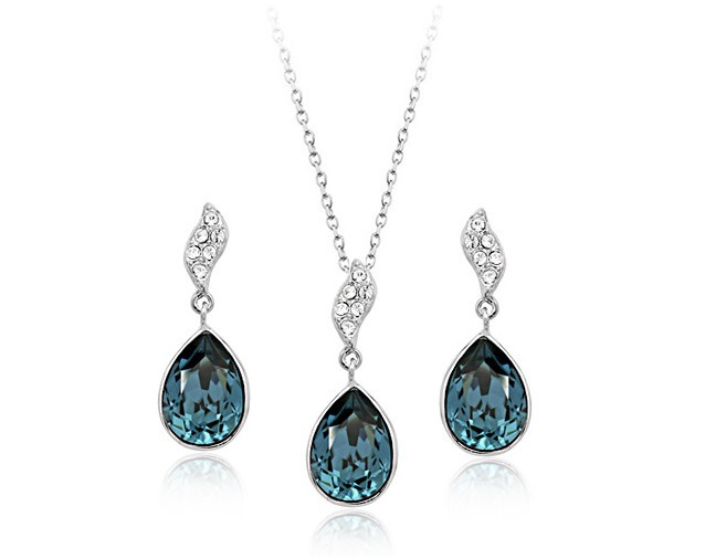 LZX Jewelry Store New Arrival The White Gold Color and 100% Austrian Crystal Necklaces Earring Jewelry Sets For Women Wholesale