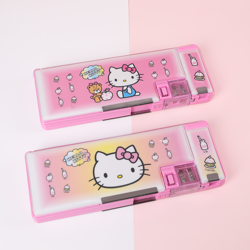 2019 new Hello cat multi-function pencil case with magnetic switch