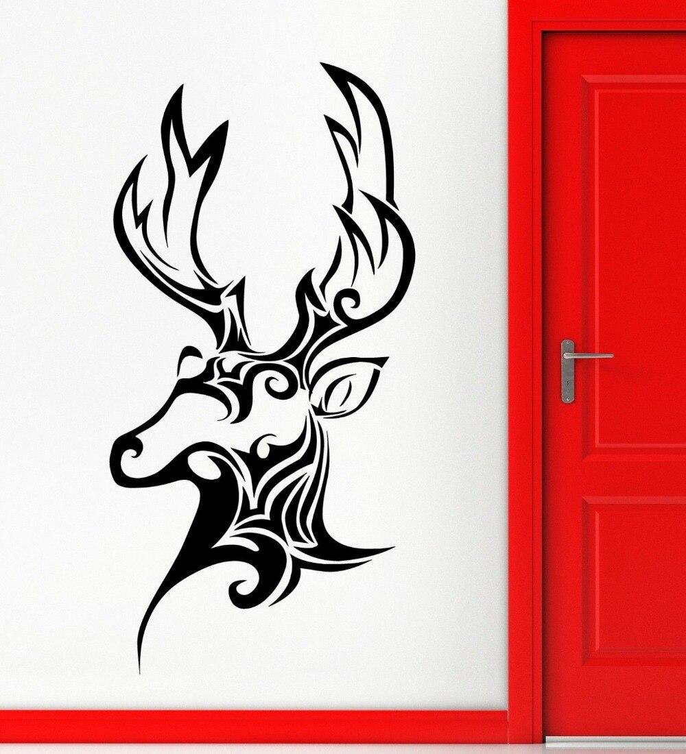 Wall sticker vinyl decal trophy berburu rusa hewan kepala pola decor