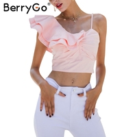 BerryGo Sexy Ruffle Knitting Off Shoulder Top Tees Fashion All Match Pink Crop Top Female Streetwear