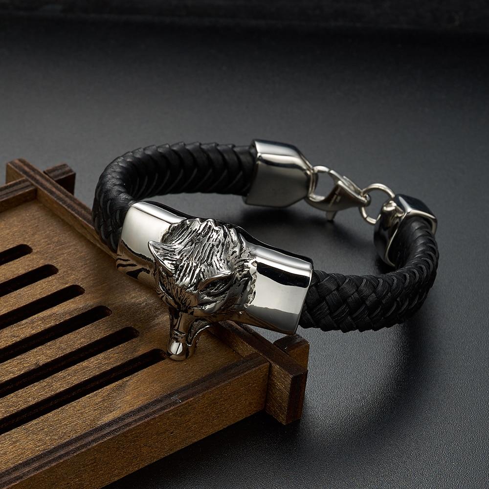 Genuine Leather Braided Bracelets Handmade Viking Wolf Bracelets Bangle Stainless Steel Lobster clap Bracelets Men handmade authentic wax bracelets