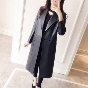 Image 4 - Manteau en cuir véritable femme, printemps automne, veste Long à revers femme, manteau Slim en peau de mouton, 100%