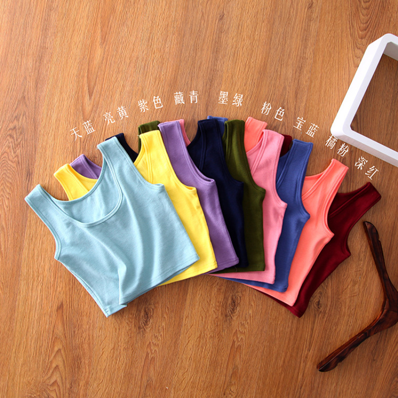 TWTZQ High Quality Women Sexy Cotton Crop   Top   Crop Bustier Multicolor Sleeveless Cropped Blusas Vest   Tank     Top   Camisole 2BX009