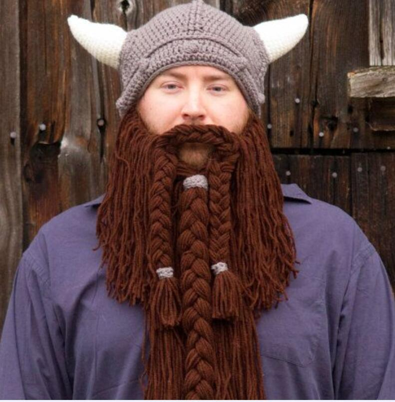 Handmade winter wool mustache Braid caps pirate face mask wig beard beanies Super Big Viking horn party gift Funny knitted hats