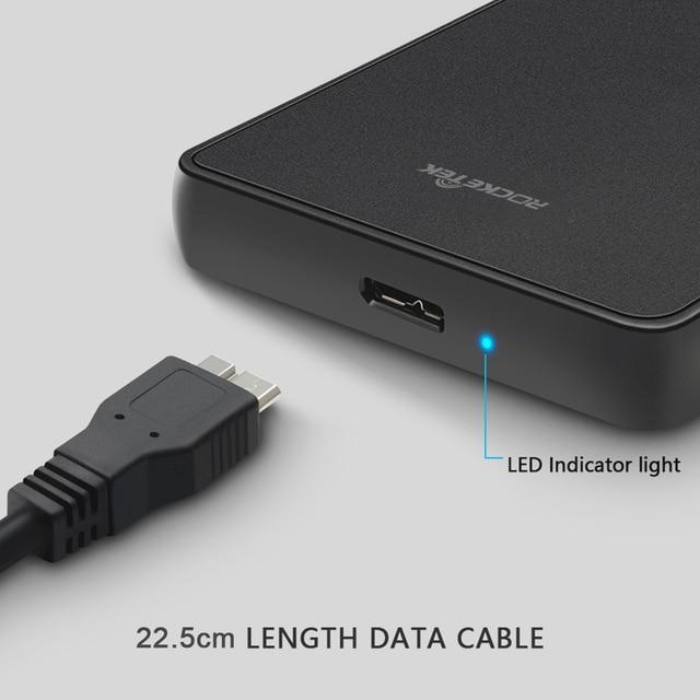 Rocketek HDD Case 2.5 inch SATA to USB 3.0 SSD Adapter Hard Disk Drive Box External HDD Enclosure for Notebook Desktop PC 5