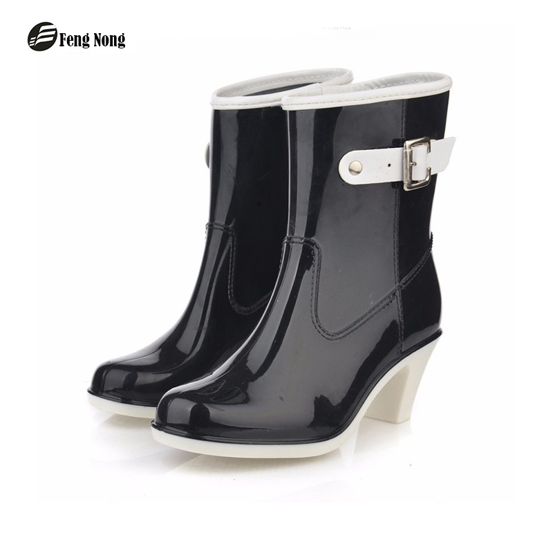 Feng Nong mid calf arrival rain boots waterproof buckle shoes woman rainboots rubber mid-calf boots good quality botas w033