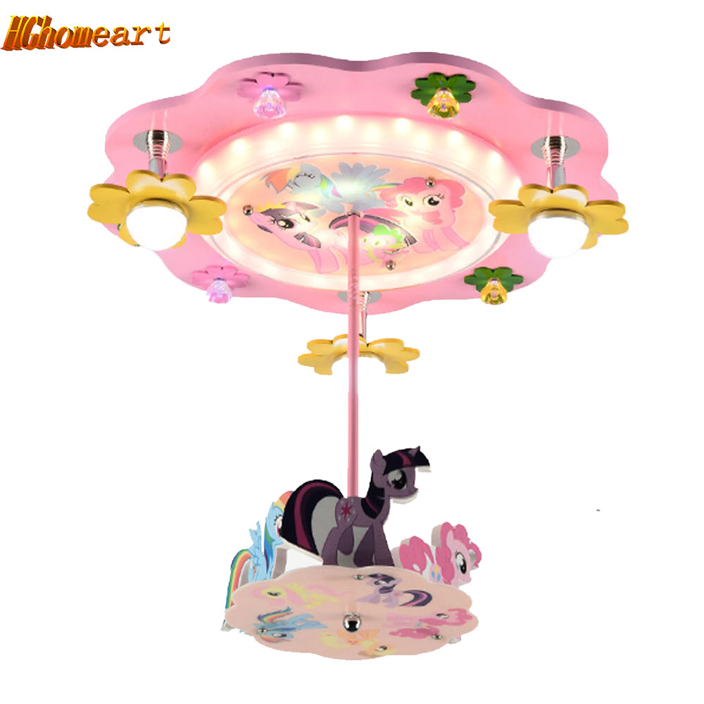Carousel Kids Room Pendant Lights Creative Fashion Cartoon LED Bedroom  Light Princess Girl Room Lighting