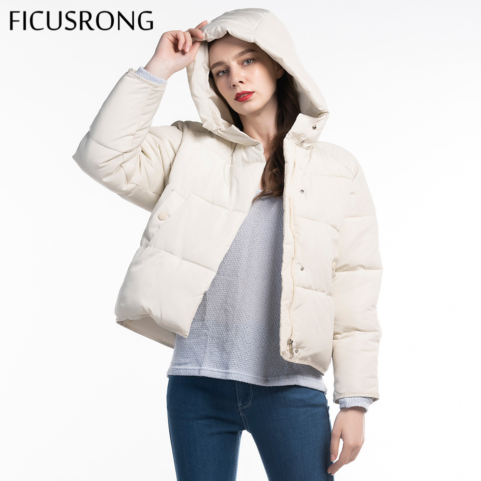 Fashion Solid Female Cotton Padded Autumn Jacket Parkas Women Hooded Winter Jacket Women Warm Thick Zipper Bread Coat FICUSRONG