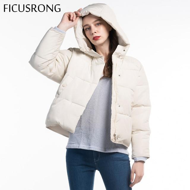 Fashion Solid Female Cotton Padded Autumn Jacket Parkas Women Hooded Winter Jacket Women Warm Thick Zipper Bread Coat FICUSRONG