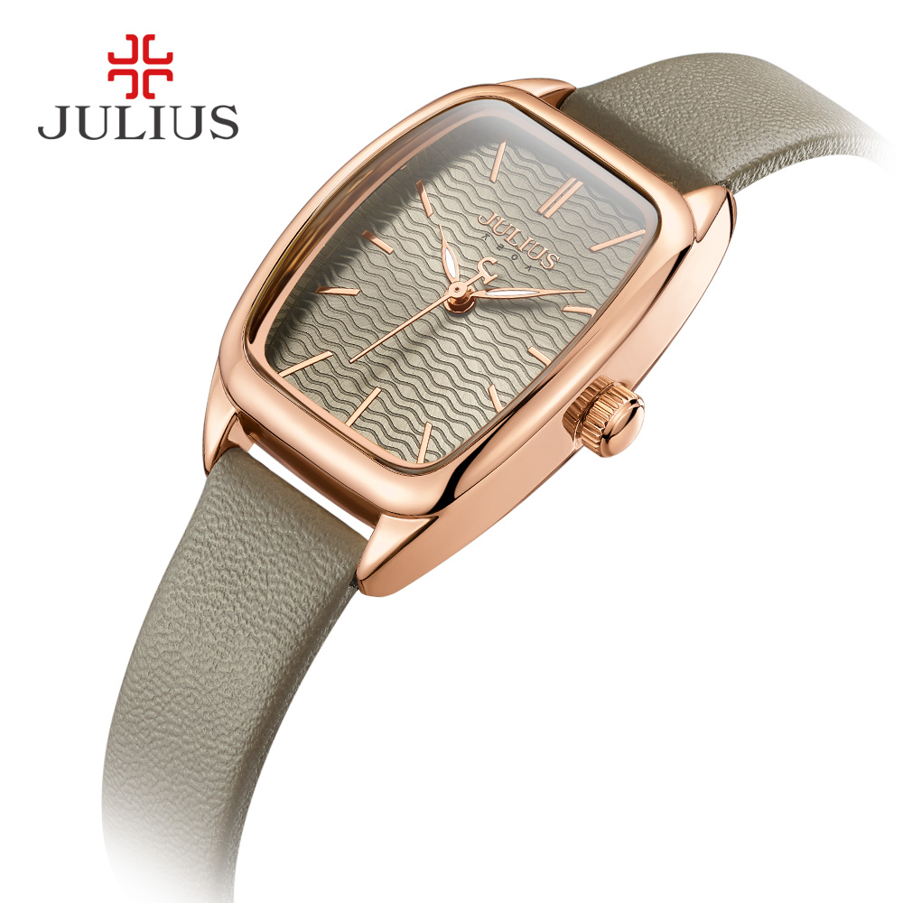 Lady Women's Watch Japan Quartz Hours Fashion Wave-like Clock Leather Bracelet Modern Classic Girl Birthday Gift Julius Box new simple cutting glass women s watch japan quartz hours fashion dress stainless steel bracelet birthday girl gift julius box