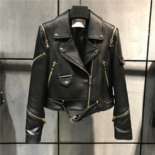 Delle donne di qualità del cuoio genuino di modo del rivestimento della signora di cuoio della giacca sportiva più il formato 5XL