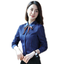 New women clothing plus size long sleeve blue stripe shirt OL fashion chiffon blouses ladies office slim shirts work wear tops