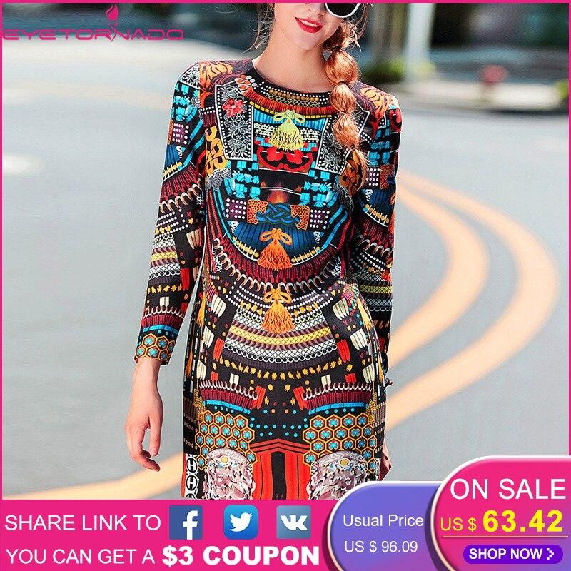 Women 2019 runway floral print vintage short mini dress plus size autumn winter O neck casual work ethnic party dresses vestido